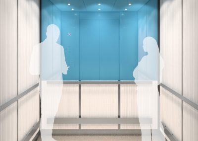 Two white shadows of man and woman in the elevator